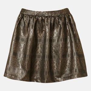 Topshop Metallic Gold High Waist Skirt